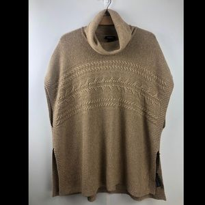 Jessica Camel Cable Knit Cowl Neck Poncho Sweater
